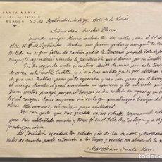 Manuscritos antiguos: CARTA DE MARCELIANO SANTA MARÍA AL PINTOR AURELIO BLANCO. 1939. Lote 235977035