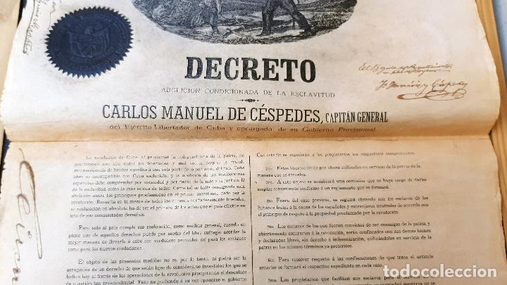 Manuscritos antiguos: DOCUMENTO ESCLAVOS DECRETO ABOLICION ESCLAVITUD 189 CUBA 1868 FIRMA CARLOS MANUEL CESPEDES ORIGINAL - Foto 3 - 236084855