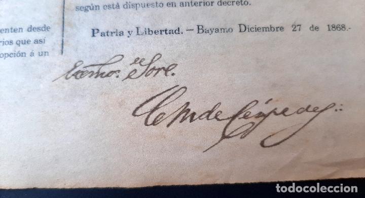Manuscritos antiguos: DOCUMENTO ESCLAVOS DECRETO ABOLICION ESCLAVITUD 189 CUBA 1868 FIRMA CARLOS MANUEL CESPEDES ORIGINAL - Foto 5 - 236084855