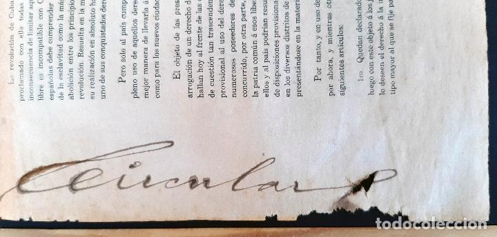 Manuscritos antiguos: DOCUMENTO ESCLAVOS DECRETO ABOLICION ESCLAVITUD 189 CUBA 1868 FIRMA CARLOS MANUEL CESPEDES ORIGINAL - Foto 9 - 236084855