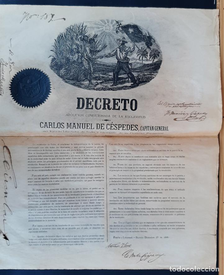 DOCUMENTO ESCLAVOS DECRETO ABOLICION ESCLAVITUD 189 CUBA 1868 FIRMA CARLOS MANUEL CESPEDES ORIGINAL (Coleccionismo - Documentos - Manuscritos)