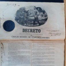 Manuscritos antiguos: DOCUMENTO ESCLAVOS DECRETO ABOLICION ESCLAVITUD 189 CUBA 1868 FIRMA CARLOS MANUEL CESPEDES ORIGINAL. Lote 236084855