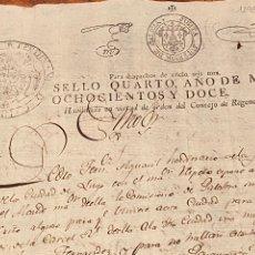 Manuscritos antiguos: TIMBRE, GUERRA INDEPENDENCIA GALICIA 1812, DESPACHOS DE OFICIO JUNTA SUPERIOR GALICIA. REGENCIA. Lote 236584005