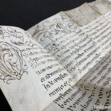 Manuscritos antiguos: BULA PONTIFICIA EN PERGAMINO CONCEDIDA MONASTERIO SANTA MARIA DE LÉRIDA. ROMA 1621. DECORADA.. Lote 237147540