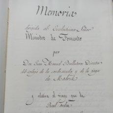 Manuscritos antiguos: MANUSCRITO MEMORIA DIRIGIDA MINISTRO DE FOMENTO POR DIRECTOR COLEGIO SORDO-MUDOS MADRID BALLESTEROS. Lote 237690460