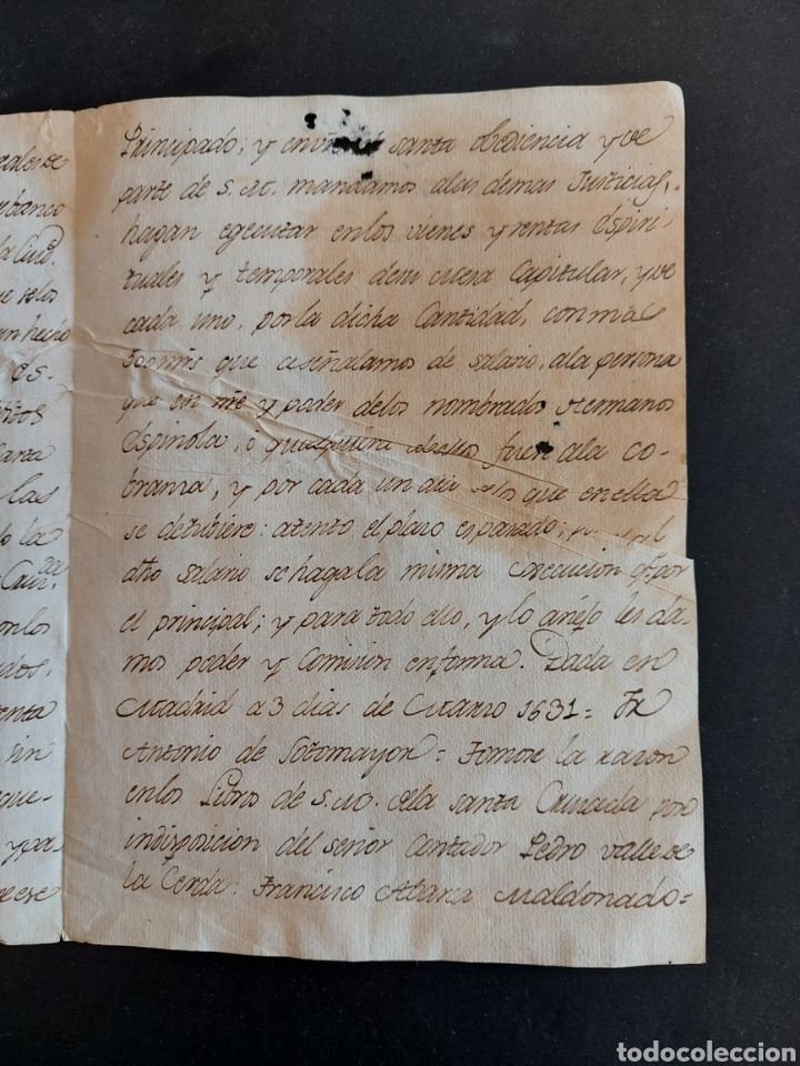 Manuscritos antiguos: Carta Galeras Gènova Confesor Real Felipe III Comisario General Santa Cruzada Inquisidor España 1631 - Foto 6 - 240211450