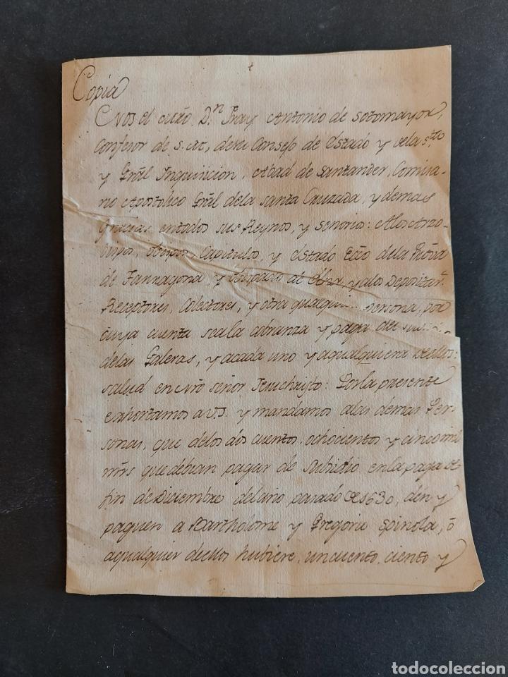 CARTA GALERAS GÈNOVA CONFESOR REAL FELIPE III COMISARIO GENERAL SANTA CRUZADA INQUISIDOR ESPAÑA 1631 (Coleccionismo - Documentos - Manuscritos)