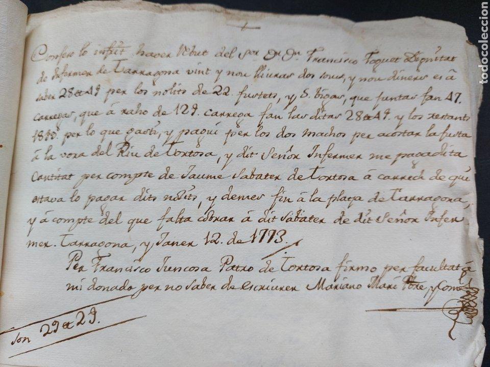 Manuscritos antiguos: Gastos de Fortificación Casa la Torreforta y sus terrenos adjuntos Tarragona Siglo XVIII Siglo XIX - Foto 15 - 240464255