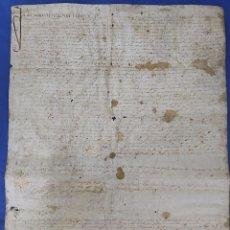 Manuscritos antiguos: MANUSCRITO PERGAMINO 1620. MARQUESADO TORRELLES DE FOIX. GUERAU PEGUERA. GRAN TAMAÑO. Lote 241002415