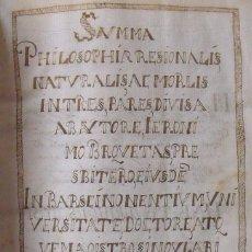 Manuscritos antiguos: LIBRO MANUSCRITO. SUMMA PHILOSOPHIA RESIONALIS NATURALIS. 1632-33. 380 PÁGINAS. SIGLO XVII.. Lote 241110105