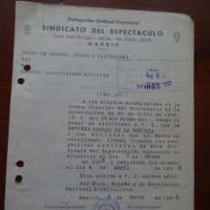 Manuscritos antiguos: FLAMENCO, CORRAL DE LA MORERÍA, AUTORIZACIÓN ACTUACIÓN JOSÉ SALAZAR MOLINA, PORRINAS BADAJOZ, 1958. Lote 241493980