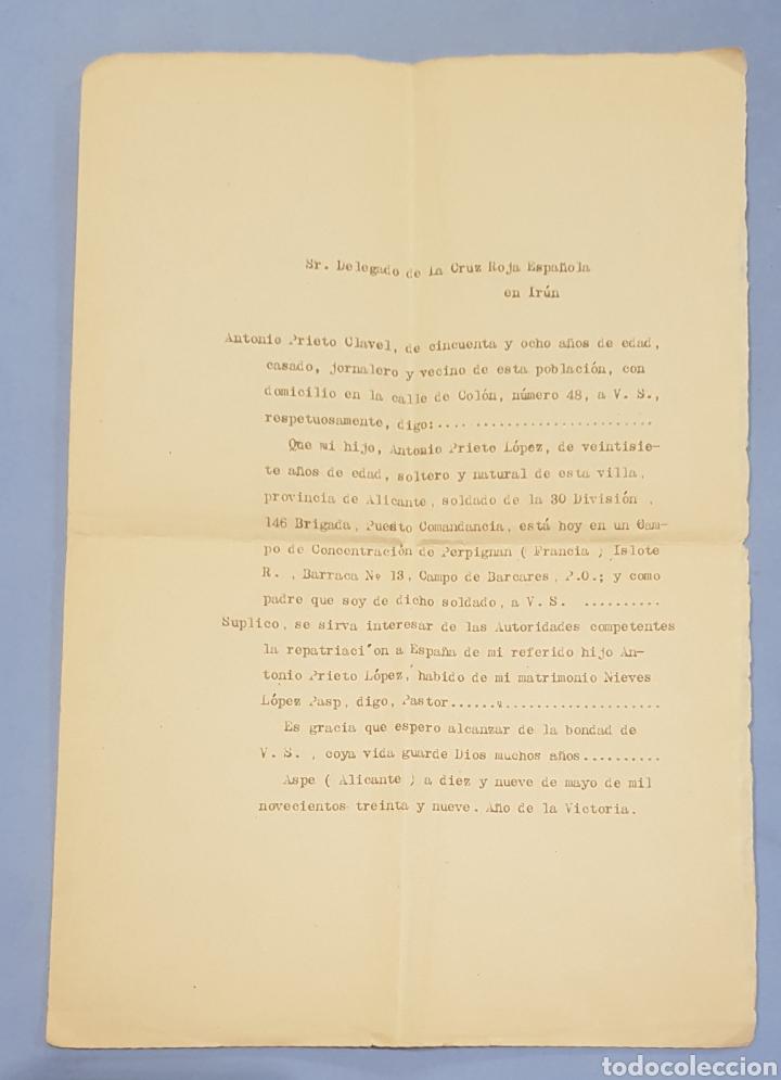 CARTA AL DELEGADO DE LA CRUZ ROJA DE IRÚN, REPATRIACIÓN, AÑO 1939 (Coleccionismo - Documentos - Manuscritos)