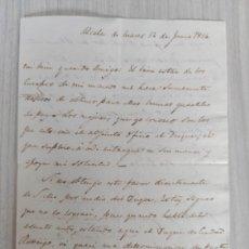 Manuscritos antiguos: GUERRA DE LA INDEPENDENCIA SANTIAGO WHITTINGHAM CARTA PARA OBTENER CUARTELES DE PAZ PARA SUS TROPAS. Lote 242853835