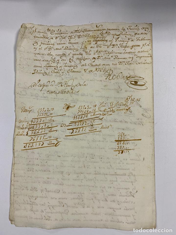 Manuscritos antiguos: CADIZ, 1765. MEDIDAS TESTAMENTARIAS. VER/LEER - Foto 7 - 243539150