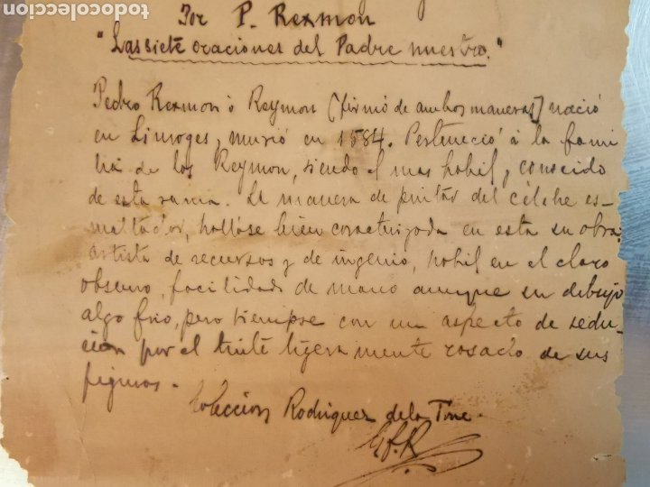 Manuscritos antiguos: Documento del Tríptico en esmalte de Limoges del s.XVI. Las 7 oraciones del padre nuestro. P. Rexmon - Foto 3 - 243687640