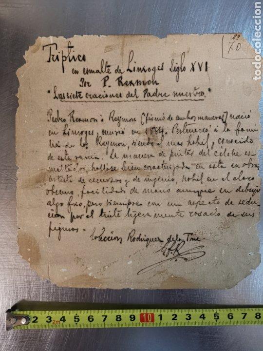 DOCUMENTO DEL TRÍPTICO EN ESMALTE DE LIMOGES DEL S.XVI. LAS 7 ORACIONES DEL PADRE NUESTRO. P. REXMON (Coleccionismo - Documentos - Manuscritos)