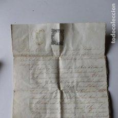 Manuscritos antiguos: CERTIFICADO BAUTISMO SELLO, 9º 2 REALES AÑO DE 1865, CALLOSA DEL SEGURA. Lote 243970150