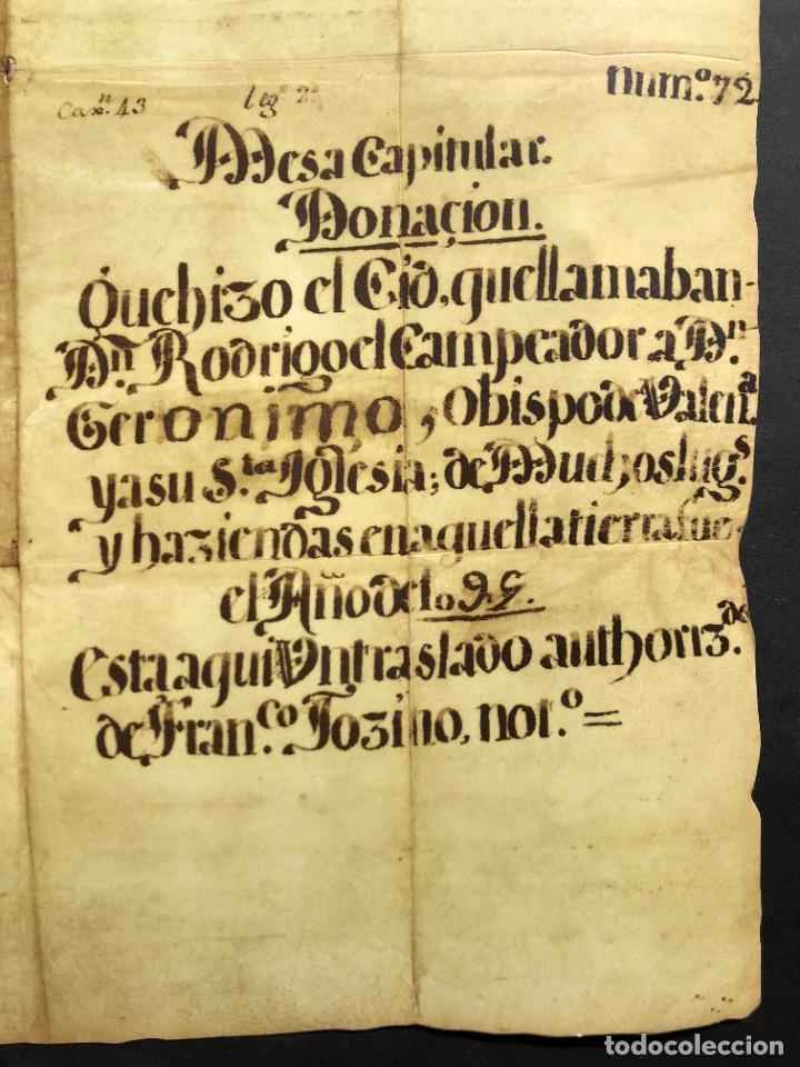 FACSÍMIL DEL DOCUMENTO DE DONACIÓN DEL CID A LA IGLESIA DE VALENCIA - RODRIGO DÍAZ DE VIVAR (Coleccionismo - Documentos - Manuscritos)
