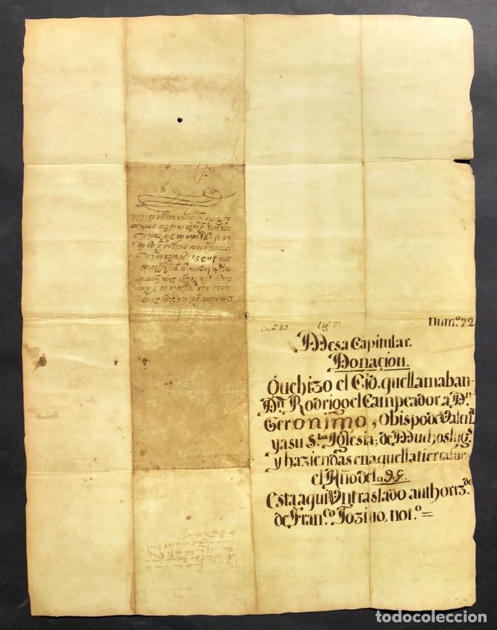 Manuscritos antiguos: Facsímil del Documento de donación del Cid a la Iglesia de Valencia - Rodrigo Díaz de Vivar - Foto 2 - 244178925