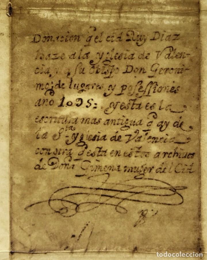 Manuscritos antiguos: Facsímil del Documento de donación del Cid a la Iglesia de Valencia - Rodrigo Díaz de Vivar - Foto 3 - 244178925