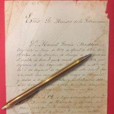 Manuscritos antiguos: AL MINISTRO DE LA GOBERNACION, MANUEL GARCIA MARTINEZ OFICIAL DE LIBROS 1853 SUPLICA. Lote 244400315