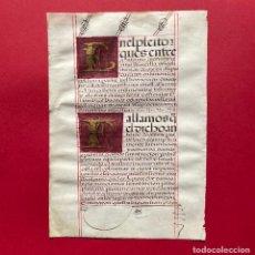 Manuscritos antiguos: XVI - MANUSCRITO SOBRE PERGAMINO - CÓDICE - CALIGRAFIA - VITELA - LETRAS CAPITULARES DORADAS. Lote 244402905