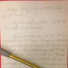 Manuscritos antiguos: MALAGA, EL GOBERNADOR MILITAR AL MINISTRO DE LA GUERRA 1861 SOBRE LOS SUBLEVADOS DE LOJA.. Lote 244404305
