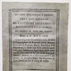 Manuscritos antiguos: DOCUMENTO DICTAMEN DECLARACION Y DECRETO PARA QUE ESTANDO EL STMO. SACRAMENTO 1816 - DOCUMENTO-008,2. Lote 244520310