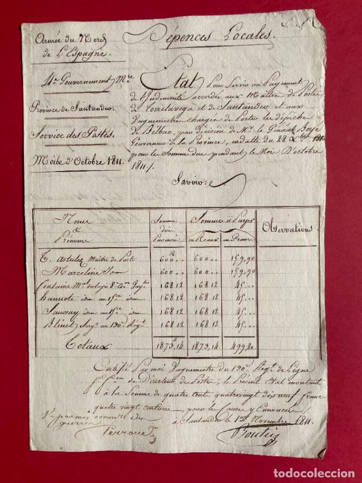 1811 - DOCUMENTO MANUSCRITO DEL EJERCITO FRANCÉS EN SANTANDER - SERVICIO DE POSTAS - (Coleccionismo - Documentos - Manuscritos)