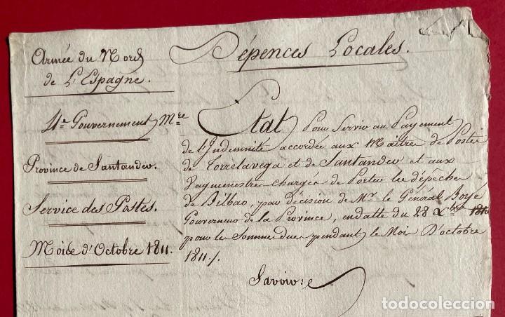 Manuscritos antiguos: 1811 - Documento manuscrito del ejercito francés en Santander - Servicio de Postas - - Foto 2 - 244870045