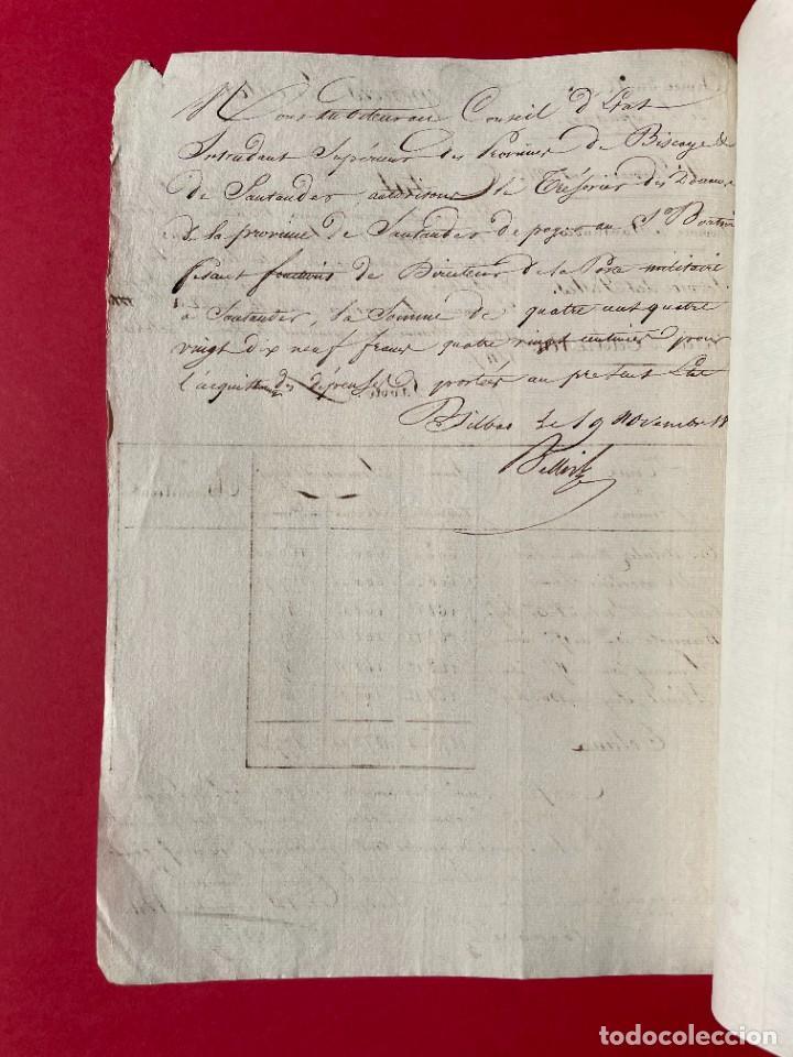 Manuscritos antiguos: 1811 - Documento manuscrito del ejercito francés en Santander - Servicio de Postas - - Foto 3 - 244870045