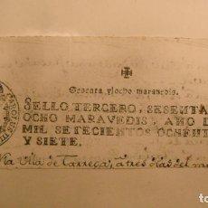Manuscritos antiguos: CABECERA PAPEL TIMBRADO SELLO 3º 78 MARAVEDIS AÑO DE 1787. Lote 245026745