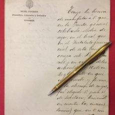 Manuscritos antiguos: REAL ATENEO DE VITORIA, NOMBRAMIENTO A JOSE Mª DIAZ MENDIVIL DE SECRETARIO 1907 REGINO MENDOZA. Lote 245065675