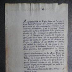 Manuscritos antiguos: DOCUMENTO AÑO 1790 SEVILLA DECRETO REAL PARA EL COBRO DE GASTOS DEL REINO SIN DILACIÓN. Lote 247432400