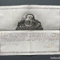 Manuscritos antiguos: 1825 - NOMBRAMIENTO COMO SOCIO DE HONOR EN LA SOCIEDAD ECONÓMICA DE AMIGOS DEL PAÍS DE CADIZ -. Lote 247588650