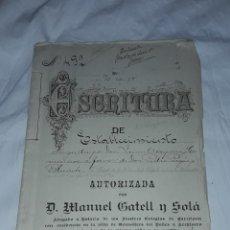 Manuscritos antiguos: ANTIGUA ESCRITURA DE ESTABLECIMIENTO A FAVOR DE DON PEDRO PAGÉS Y BLANCH AÑO 1920, GRANOLLERS.. Lote 248109635