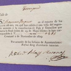 Manuscritos antiguos: REPARTO 511 REALES 26 MARAVERIS VELLÓN PAJA Y UTENSILIOS A VILLA CONSTANTÍ 1829 SIGLO XIX. Lote 248706765