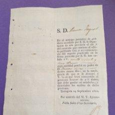 Manuscritos antiguos: ANTICIPO PATRIOTICO 1822 SIGLO XIX TARRAGONA PRÉSTAMO FORZOSO. Lote 248729655