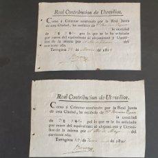 Manuscritos antiguos: LOTE DE 3 RECIBOS DE PAGO REAL CONTRIBUCIÓN DE UTENSILIOS AÑO COMPLETO 1818 TARRAGONA SIGLO XIX. Lote 248732220