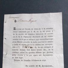 Manuscritos antiguos: TÉRMINO CENSELLAS 1838 SIGLO XIX PAGO EXTRAORDINARIO DE LO CONTRARIO SUFRIRÁ APREMIOS MILITARES. Lote 248770435