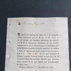 Manuscritos antiguos: POBLA DE MAFUMET 1838 SIGLO XIX PAGO EXTRAORDINARIO DE LO CONTRARIO SUFRIRÁ APREMIOS MILITARES. Lote 248772725