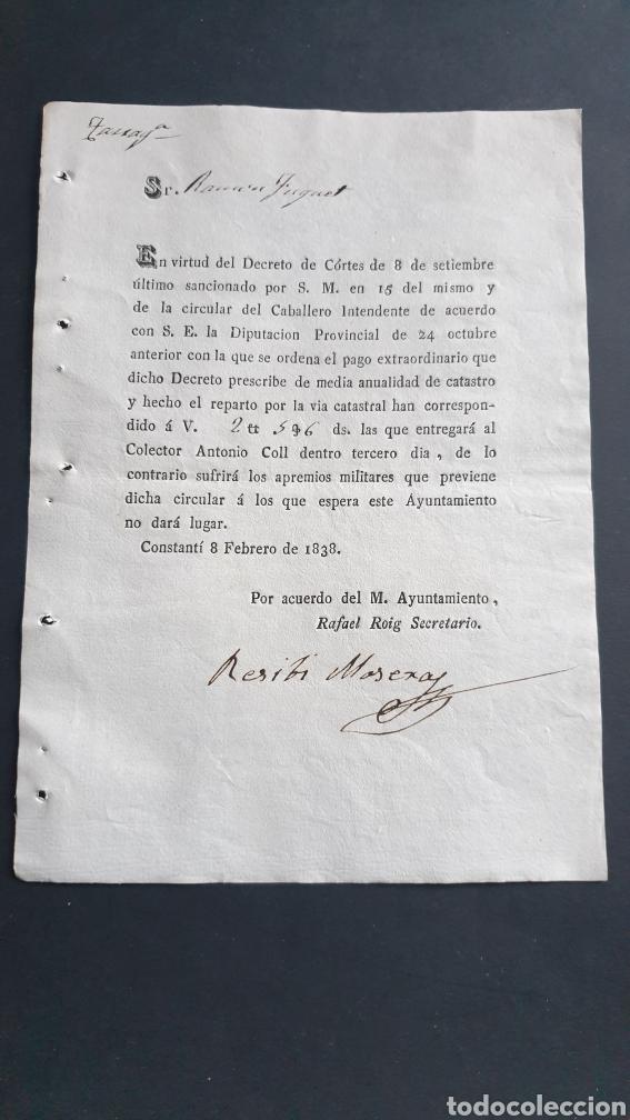 CONSTANTÍ 1838 SIGLO XIX PAGO EXTRAORDINARIO DE LO CONTRARIO SUFRIRÁ APREMIOS MILITARES (Coleccionismo - Documentos - Manuscritos)