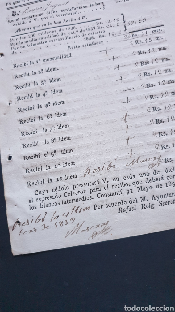 Manuscritos antiguos: Villa de Constantí Partido Tarragona 1839 Contribución Extraordinaria de Guerra Siglo XIX - Foto 3 - 248780045