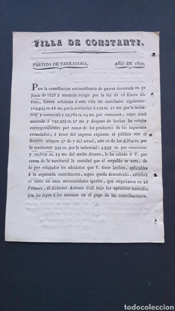 VILLA DE CONSTANTÍ PARTIDO TARRAGONA 1839 CONTRIBUCIÓN EXTRAORDINARIA DE GUERRA SIGLO XIX (Coleccionismo - Documentos - Manuscritos)