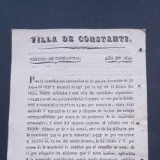Manuscritos antiguos: VILLA DE CONSTANTÍ PARTIDO TARRAGONA 1839 CONTRIBUCIÓN EXTRAORDINARIA DE GUERRA SIGLO XIX. Lote 248780045