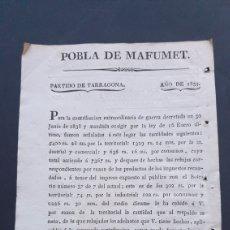 Manuscritos antiguos: POBLA DE MAFUMET PARTIDO TARRAGONA 1839 CONTRIBUCIÓN EXTRAORDINARIA DE GUERRA SIGLO XIX. Lote 248781685