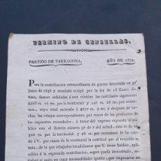 Manuscritos antiguos: TÉRMINO DE CENSELLAS PARTIDO TARRAGONA 1839 CONTRIBUCIÓN EXTRAORDINARIA DE GUERRA SIGLO XIX. Lote 248782935