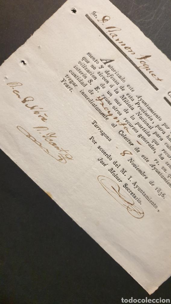 Manuscritos antiguos: Pago inmediatamente reparto entre los que NO sirven á l Milicia Nacional Tarragona 1836 Siglo XIX - Foto 2 - 248791520