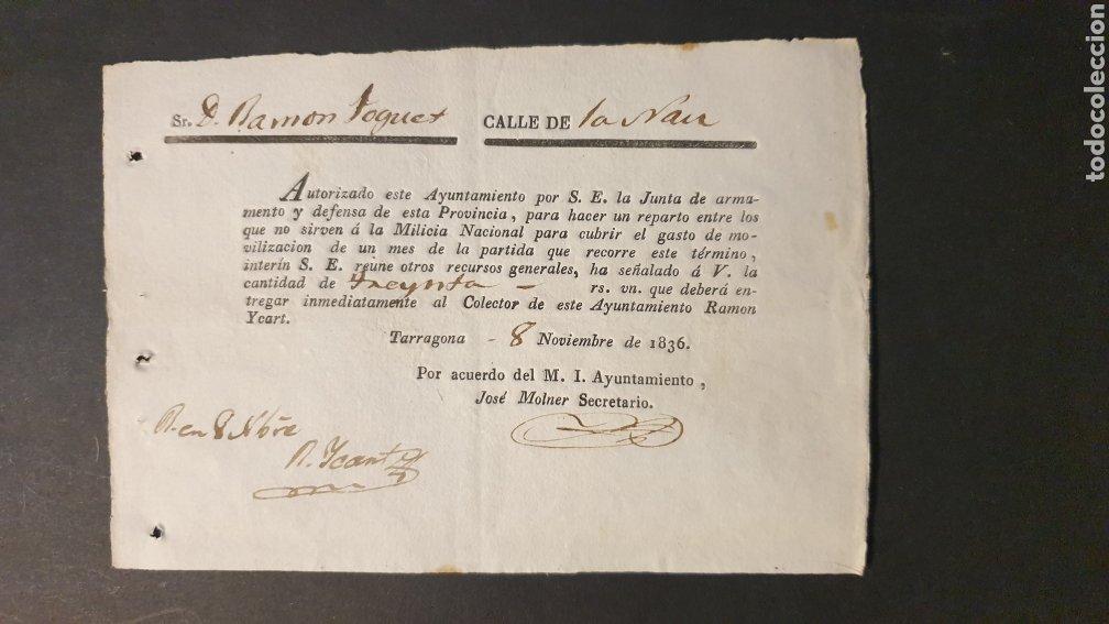 PAGO INMEDIATAMENTE REPARTO ENTRE LOS QUE NO SIRVEN Á L MILICIA NACIONAL TARRAGONA 1836 SIGLO XIX (Coleccionismo - Documentos - Manuscritos)