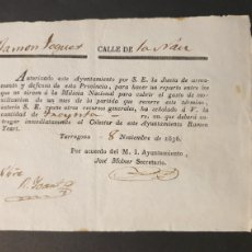 Manuscritos antiguos: PAGO INMEDIATAMENTE REPARTO ENTRE LOS QUE NO SIRVEN Á L MILICIA NACIONAL TARRAGONA 1836 SIGLO XIX. Lote 248791520